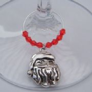 Santa Head Wine Glass Charm - Beaded Style